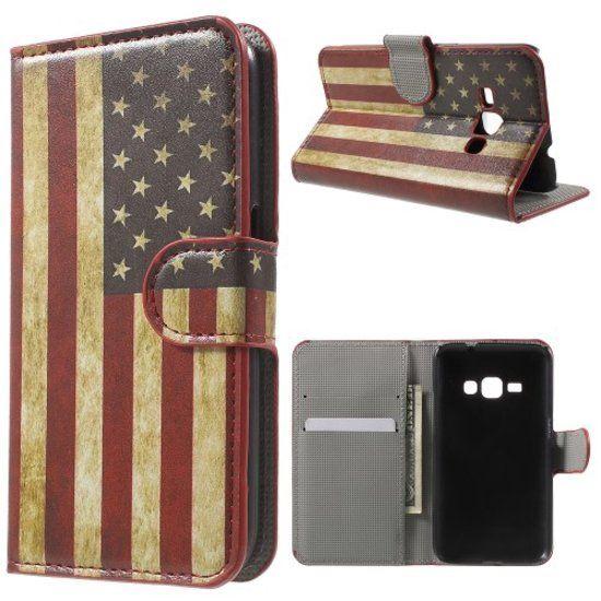 Samsung Galaxy J1 (2016) USA vlag agenda wallet hoesje