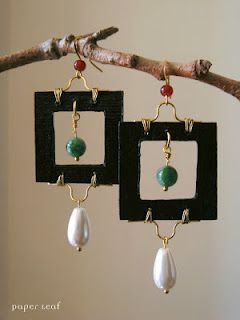 Pearl&Giade_01 - Paper earrings with giade beads and faux pearl
