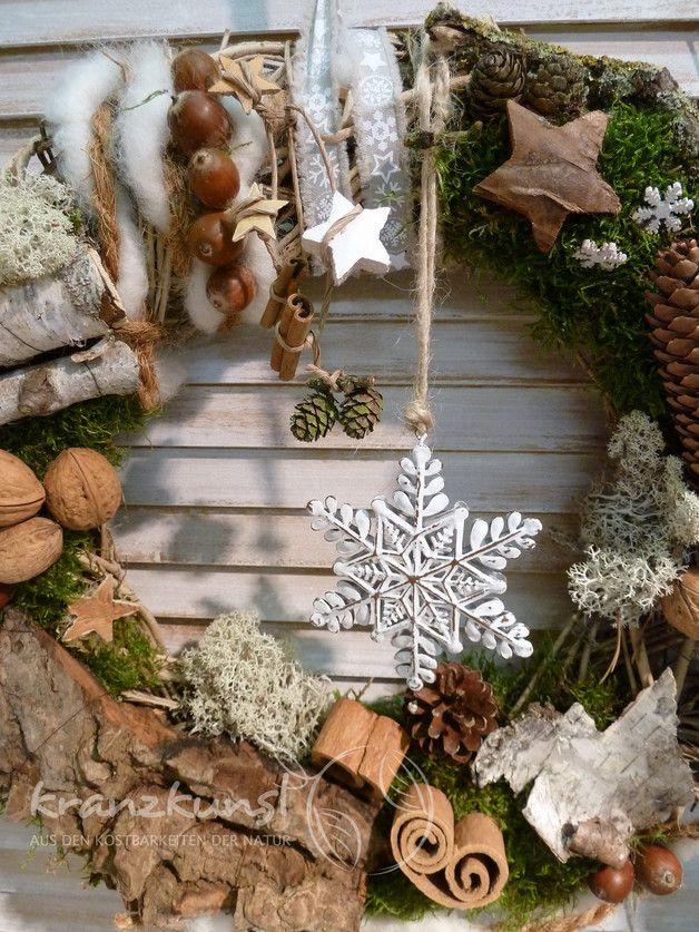 **♥ Ein traumhafter großer Türkranz für Naturherzen mit einem Hauch Nostalgie...♥**  _Wunderschön zur Weihnachts- und Winterzeit   _  Durchmesser ca 40-42cm  **♥ LANDHAUS ♥ SHABBY ♥ TÜRKRANZ...