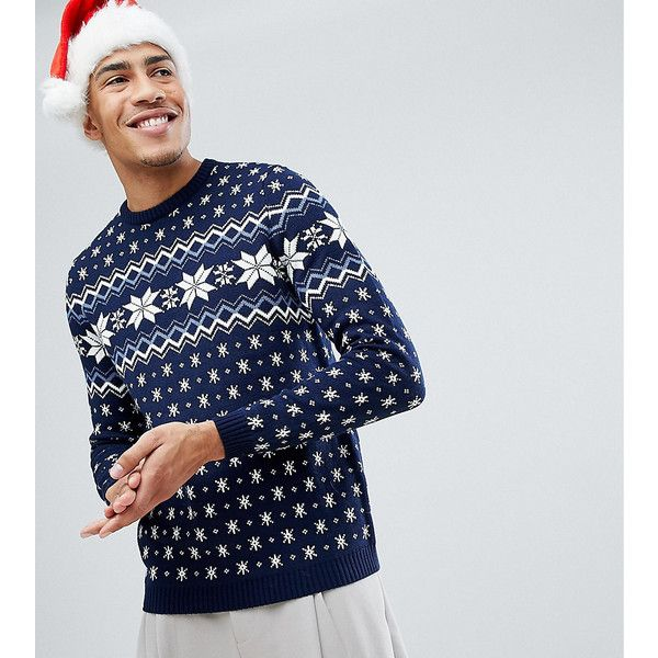 ASOS TALL Christmas Jumper With Snowflake Design (538.080 IDR) ❤ liked on Polyvore featuring men's fashion, men's clothing, men's sweaters, multi, mens snowflake sweater, mens crewneck sweaters, mens christmas sweaters and mens crew neck sweaters