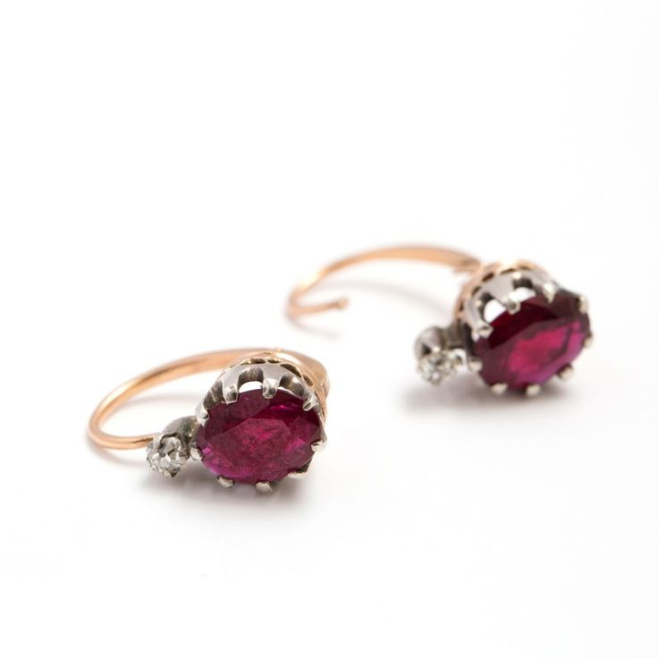 Fox & Bond: French Ruby and Diamond Drop Earrings