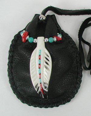 Cynthia Whitehawk - Apache Eagle Spirit Medicine Bag with hand-carved buffalo bone eagle feather; turquoise & coral beads.