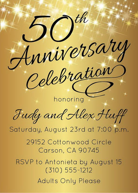 50th Anniversary Invitation Golden Invite by AnnounceItFavors