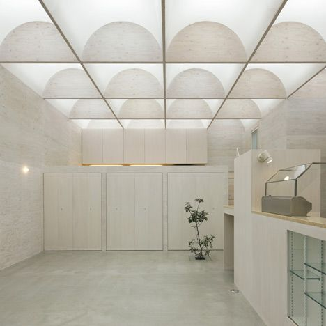 Daylight House by Takeshi Hosaka. Natural light diffuses into this house in Yokohama, Japan, through a grid of arched skylights in the ceiling.