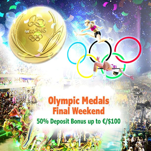 As we are now entering the last weekend of the #Olympics #Bonus Pentathlon event, we thought why not end it with a splash! The battle for the #Gold Medal in the leaderboard still rages on, and we're giving you even more to play with this #weekend... a 50% bonus up to €/$100!
