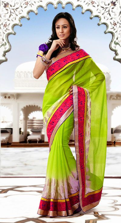 USD 97.84 Green Party Wear Saree  33662