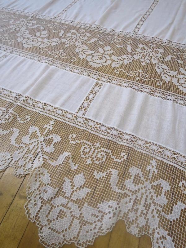 Pair of Antique Edwardian Filet Lace Curtain Panels- 60 x 89 '' 152 x 228 cm