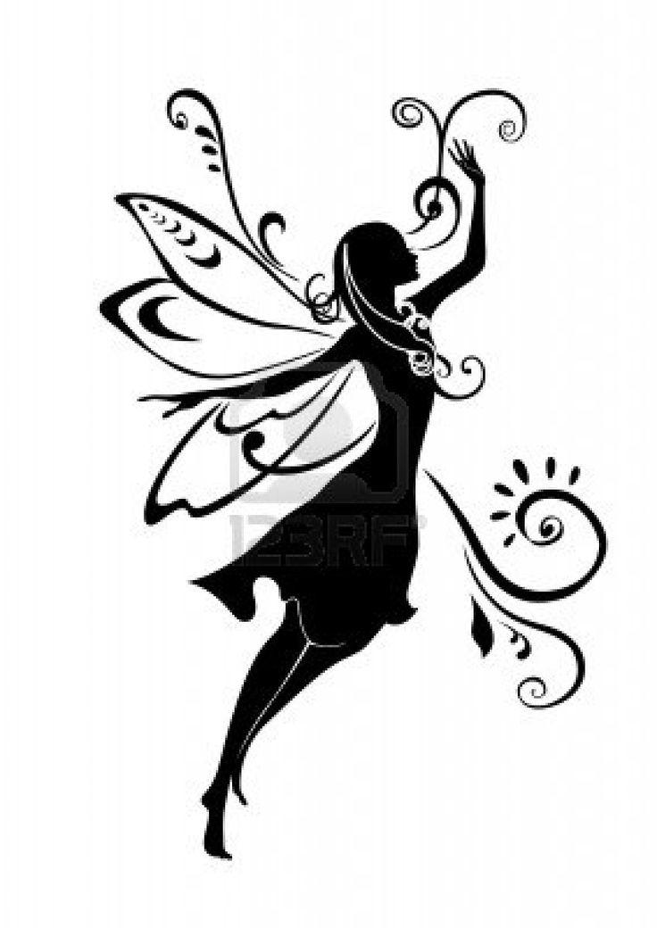Vector Illustration Silhouette of funky fairy on flower pattern design Stock Photo - 4660635