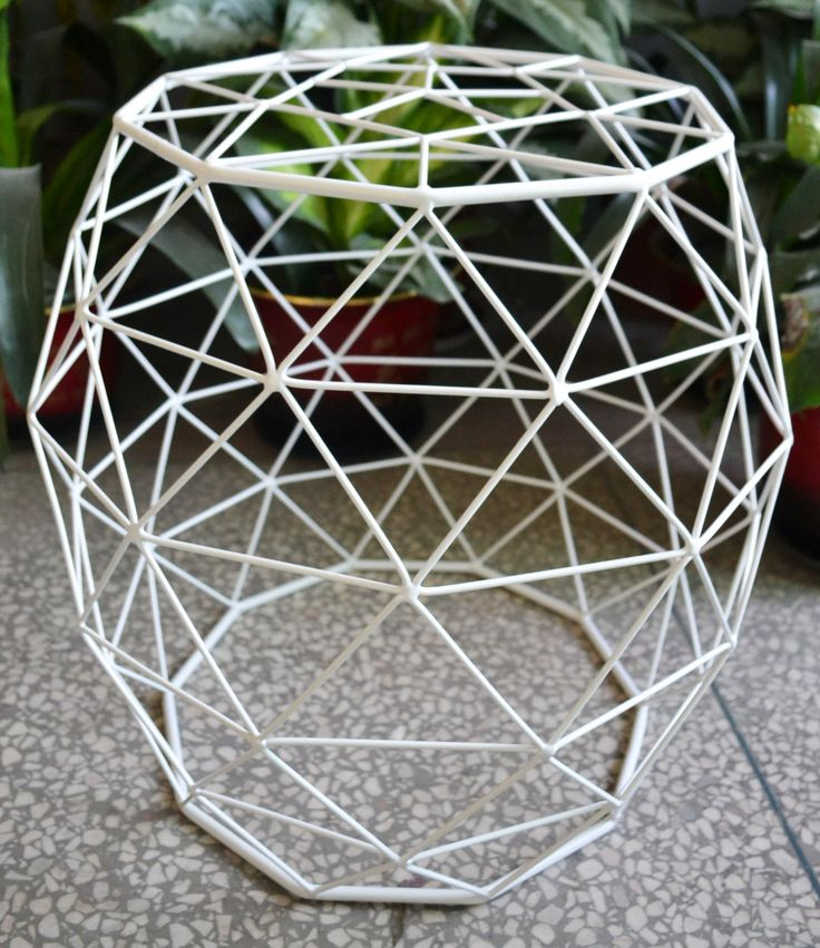 Alpine White Iron Side Table - This crisp white designer side table will make a stunning addition to any living setting. The open triangle pattern creates a light feel, yet the this crafty design technique makes this table exceptionally strong. | #alpinewhite | #sidetable | #triangular | #whitesidetable | #designersidetable | #philbee