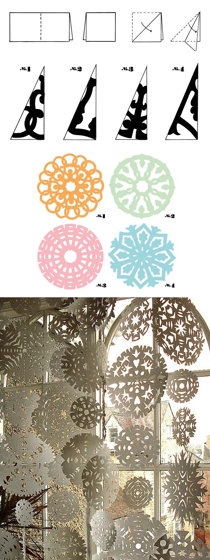 Como hacer copos de nieve de papel/ As making paper snowflakes #recycle design …