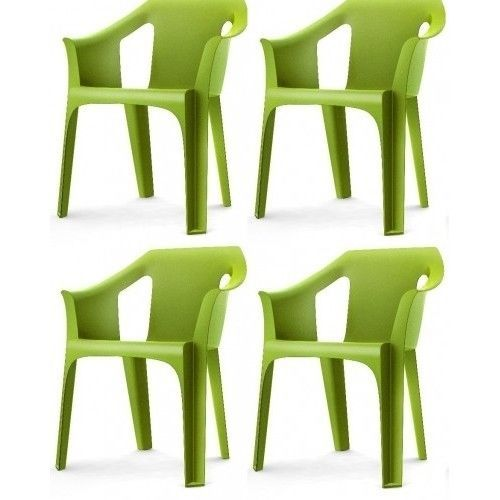 Garden-Chair-Outdoor-Indoor-Designer-Plastic-Green-Garden-Furniture-pack-of-4