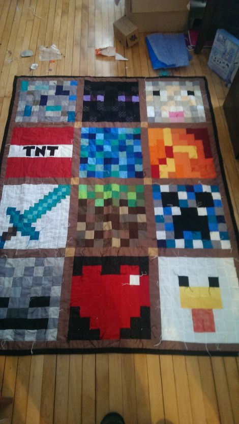 DIY Minecraft Quilt sewing is finally done, it was so much work but total worth all the love it will get.