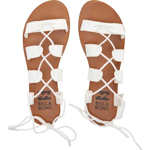 Billabong Women's Beach Brigade Sandals ($45) ❤ liked on Polyvore featuring shoes, sandals, flats, white, footwear, white gladiator sandals, white flats, lace up flats, white flat shoes and lace-up sandals