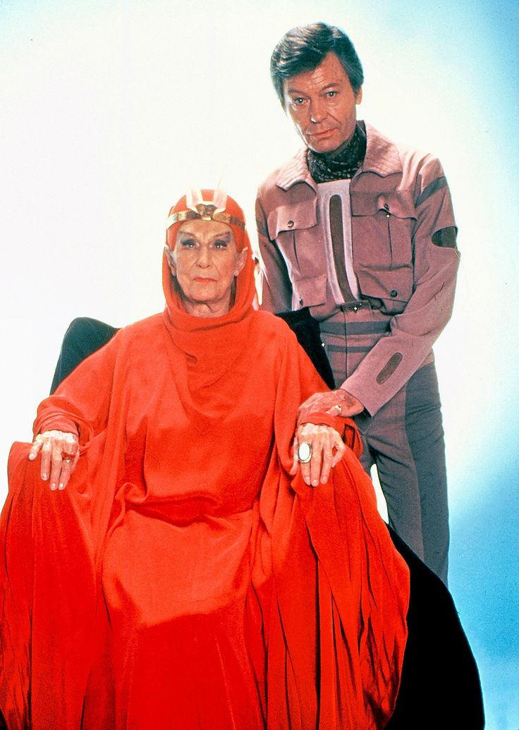 DeForest Kelley and Dame Judith Anderson, in Star Trek III - The Search For Spock. After an acting break of 14 years, at the age of 87, she accepted the part of T'Lar, the Vulcan high priestess who restores Spock's katra to his body.