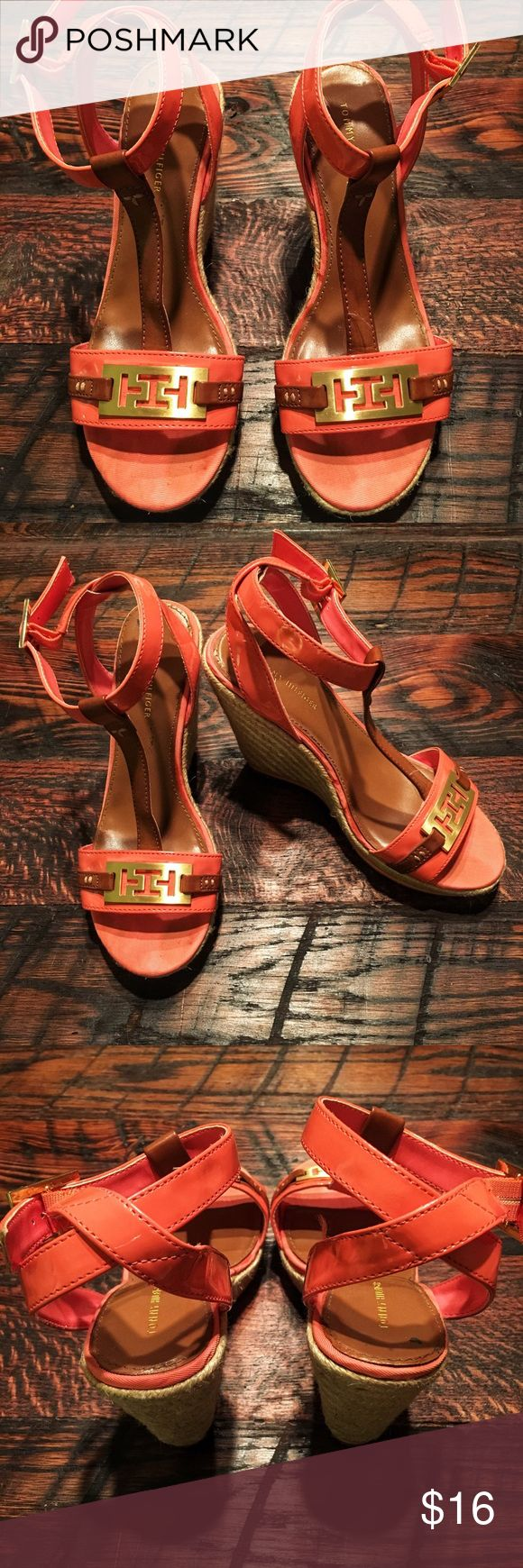🌸TOMMY HILFIGER Coral Wedges! TOMMY HILFIGER Coral Wedges! Some wear on the wedges and sole but other wise good condition! Tommy Hilfiger Shoes Wedges