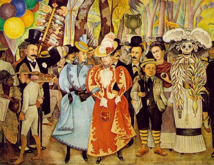 ディエゴ・リベラ 「アラメダ公園での日曜の午後の夢」細部  1947-48、 ホテル・デル・プラド、メキシコ・シティ