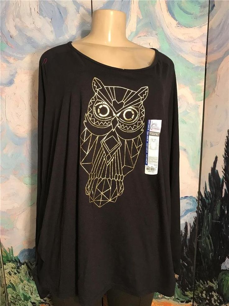 Just My Size Plus 5X New Black Owl Graphic Ruched Sides Long Sleeve Tunic Top #JustMySize #Tunic #Casual