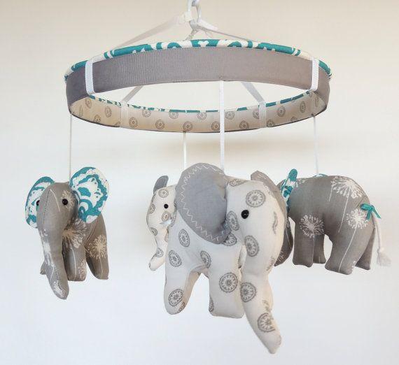 Turquoise Grey Baby MobileElephant MobileCustom by MemeFleury, $119.00