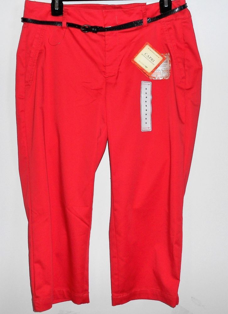 DOCKERS Coral Capri Stretch Pants Women Size 8 ~NWT $48 #DOCKERS #CaprisCropped