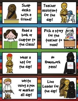 """These Star Wars themed coupons are perfect for recognizing student's who make good choices, use positive behavior or reach academic achievements. Print cards, cut and your are ready to go! Coupons can be distributed in different ways. Students can draw a card from a jar, be given a choice of several options, or you can choose which """"prize"""" they receive. Cards measure 2 3/4 x 4 1/4 and print eight to a page.There are 40 different reward coupons featuring the clipart of Melonheadz."""
