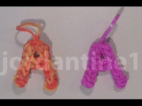 Rainbow Loom Skinny LETTER A Charm. Designed and loomed by jordantine1. Click photo for YouTube tutorial. 04/16/14.