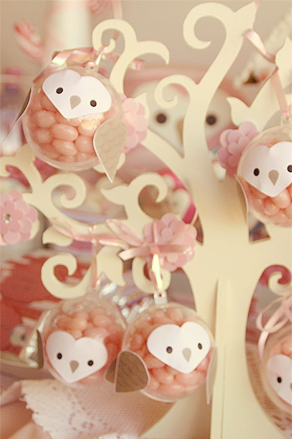 Owl Party by I Will Invitations: use craft christmas baubles to fill with jellybeans and then add owl details