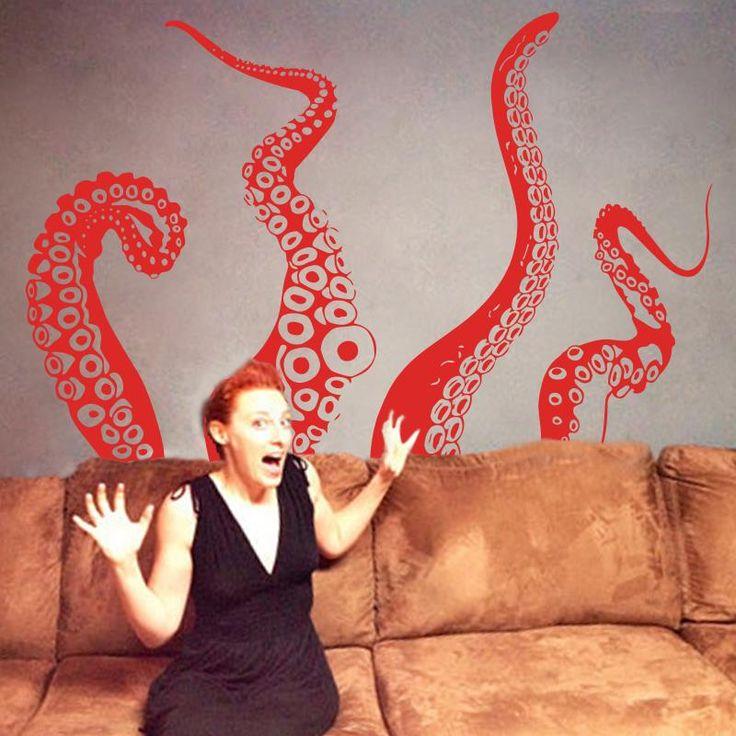 2015 Искусство Новый дизайн дом декор 4 шт. морских Животных осьминог Винил Наклейки На Стены украшения дома Слон Щупальца интересные Наклейкикупить в магазине Big dreamнаAliExpress