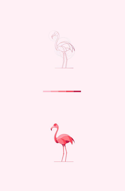 Color animal logos based on circular geometry - Flamingo (2)