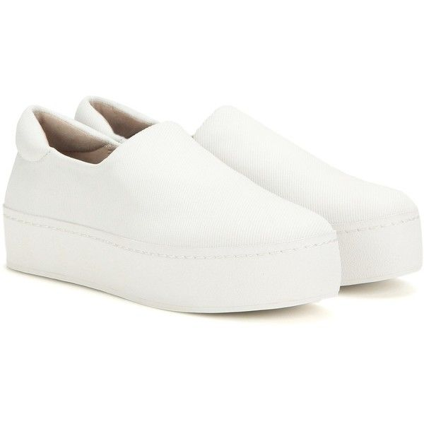 Opening Ceremony Platform Slip-on Sneakers (2.861.010 IDR) ❤ liked on Polyvore featuring shoes, sneakers, white, white trainers, pull-on sneakers, platform trainers, white sneakers and platform sneakers