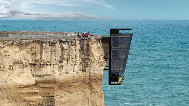 """""""El concepto fue desarrollado para colgar una casa de la pared de un acantilado en lugar de ubicarla en la parte superior de la misma"""", explican los autores de este proyecto tan poco habitual."""