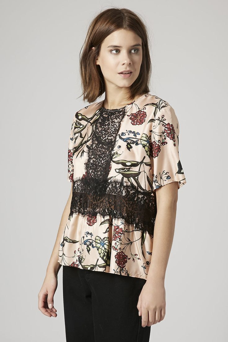 Photo 3 of Fable Print Lace Panel Top by Boutique
