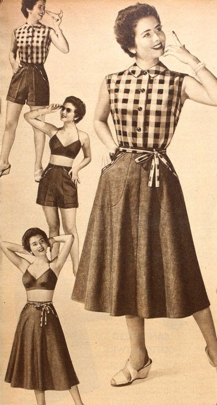 Terrific 1950s summertime looks featuring playsuits, shorts and gingham.