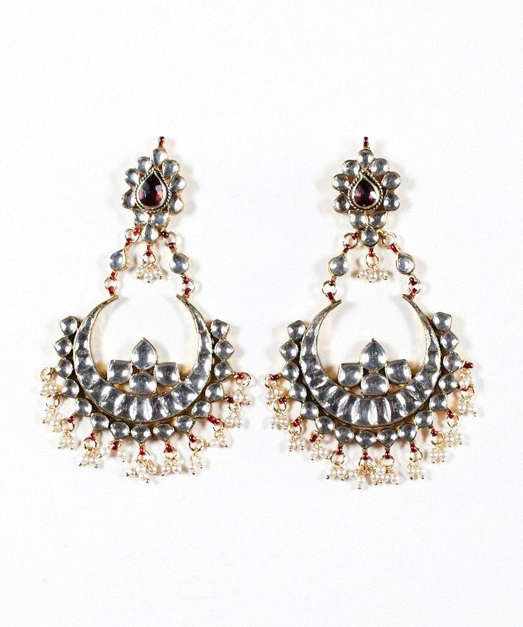 Crescent Kundan Hanging Earrings $88.00
