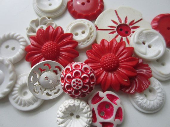 Vintage Buttons  Cottage chic mix of fancy red by pillowtalkswf, $8.95