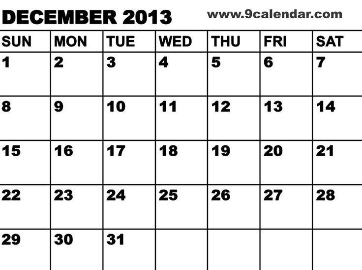 27 Best December 2014 Calendar Images On Pinterest Printables