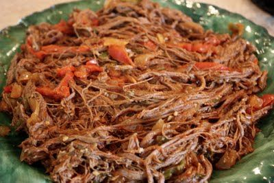 This is Eva Longoria's Ropa Vieja recipe. I love it. Cook it on low all day in the crockpot and serve with black beans and rice.