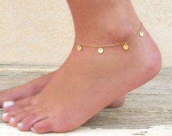 Dainty Gold Anklet Gold Filled Bead Anklet Minimal Gold