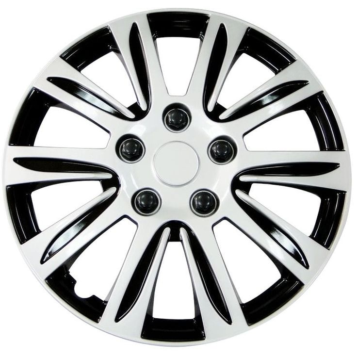 Pilot Automotive Silver 14/ 15/ 16-inch New Design Hubcaps Hub Cap Full Lug Skin with Black Accents Rim Wheel Covers (Pack of 4) (wheel cover 1