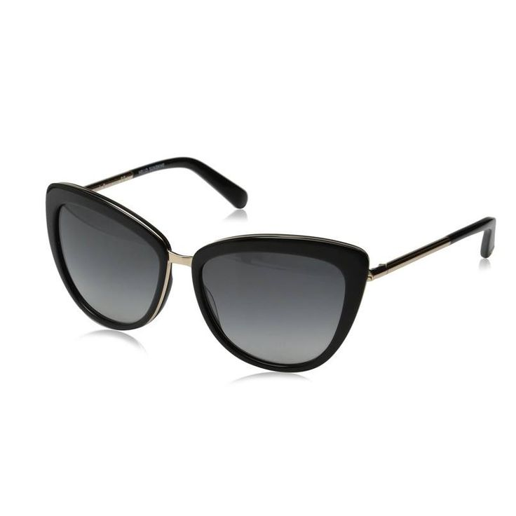 Kate Spade Women's Kandi Cateye Sunglasses  Imported  Plastic frame  Plastic lens  Non-Polarized  100% UV protection coating  Lens width: 56 mm  Lens height: 45 mm  Bridge: 16 mm  Arm: 135 mm  Squared cat-eye sunglasses featuring gold-tone temples, bridge, and edging  Prescription-ready gradiant lenses with UV-protection coating  Includes case