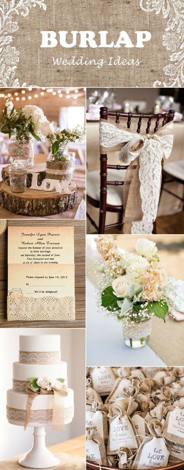 rustic burlap and lace mason jar wedding ideas