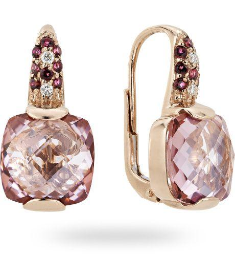 Orecchino in oro rose 18 kt. con 0.04 ct. di diamante by Zoccai - Gold earrings with diamonds by Zoccai