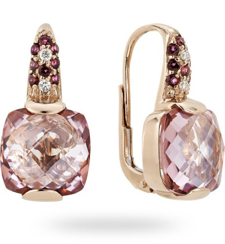 Orecchino in oro rose 18 kt. con 0.04 ct. di diamante by Zoccai - Gold earrings with diamonds by Zoccai