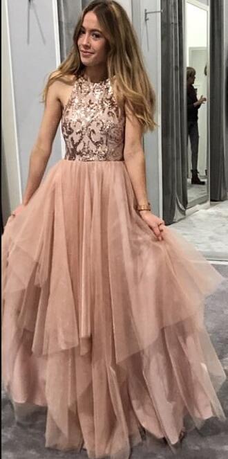 abito lungo da ballo in oro rosa con top di paillettes, abito da ballo di fine anno 2019