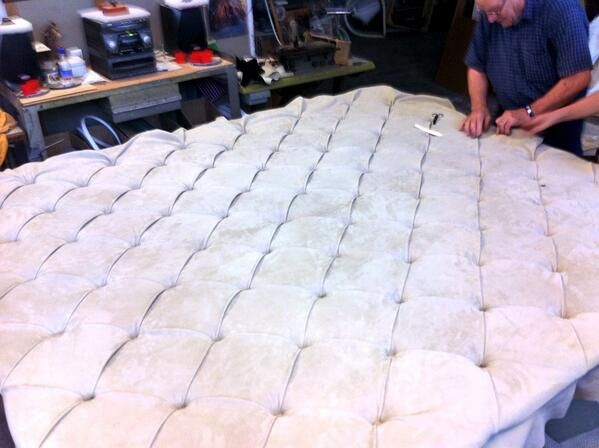 Bed headboard by Berto Master Artisans in Brianza (September 2013, Meda, Italy).
