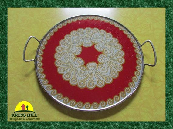 Vintage Round Glass Serving Tray With Handles by KressHillVintage, $48.00