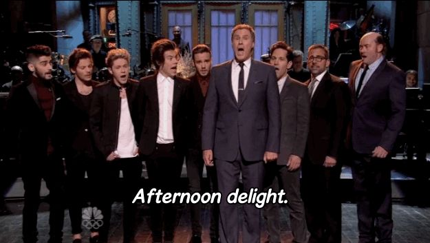 """You brought your boy band??? Well, I brought my man band.""   One Direction Joins Cast Of ""Anchorman 2"" In A Rendition Of ""Afternoon Delight"""