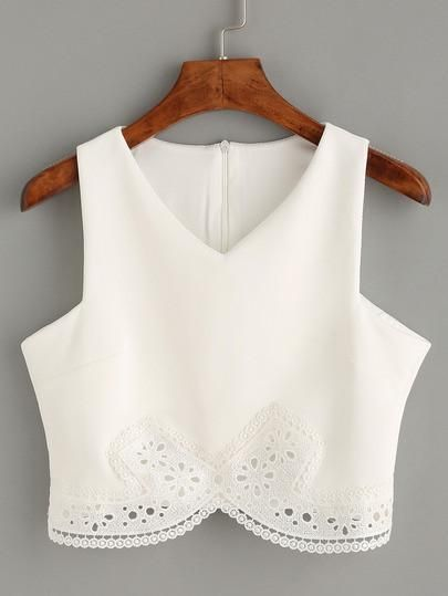 white lace crop top, sexy crop tank top, lace romantic white top - Lyfie