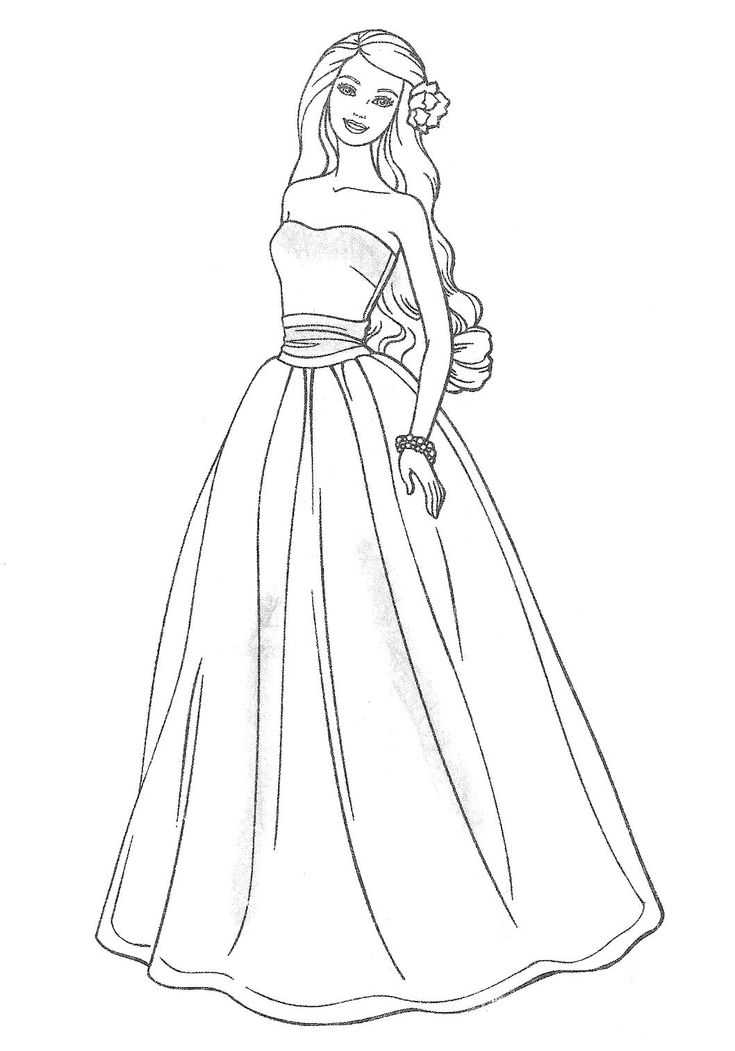 elegant barbie coloring pages free large images - Barbie Coloring Page