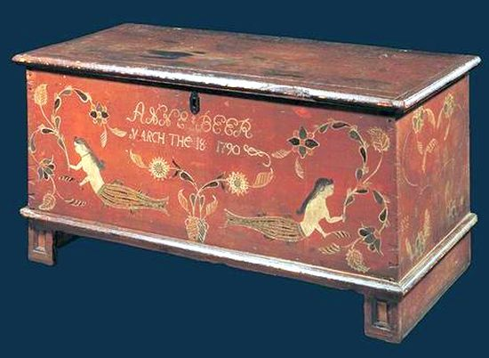 Sailor's Sea Chest, painted with Mermaids.