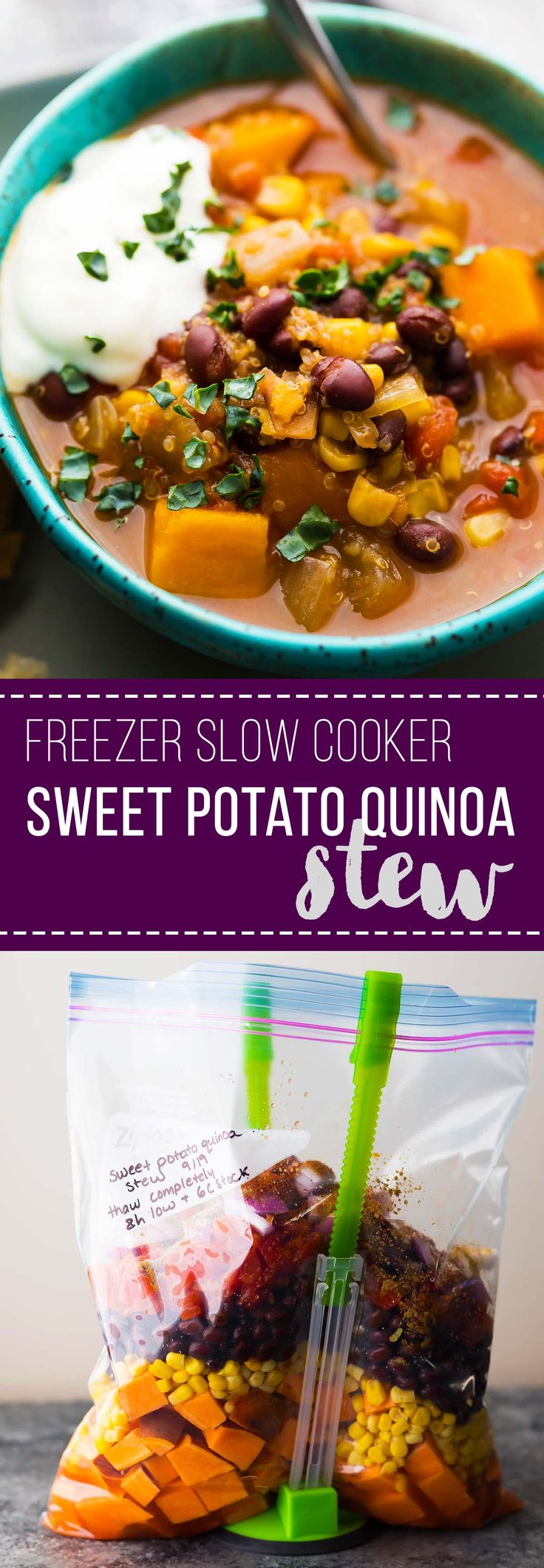 This hearty slow cooker black bean, quinoa and sweet potato stew can be assembled ahead and stashed in the freezer OR frozen after cooking it up. The perfect healthy and convenient weeknight dinner! #mealprep #slowcooker #vegan #crockpot #freezercrockpot #freezermeal #glutenfree #stews